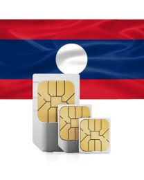 Laos flag, data sim card for Laos
